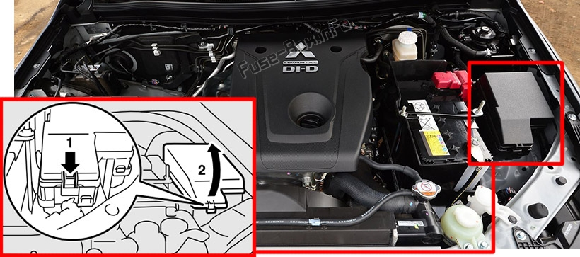 The location of the fuses in the engine compartment: Mitsubishi Pajero Sport (2015-2019)