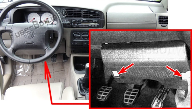 The location of the fuses in the passenger compartment: Volkswagen Vento / Jetta (1992-1999)