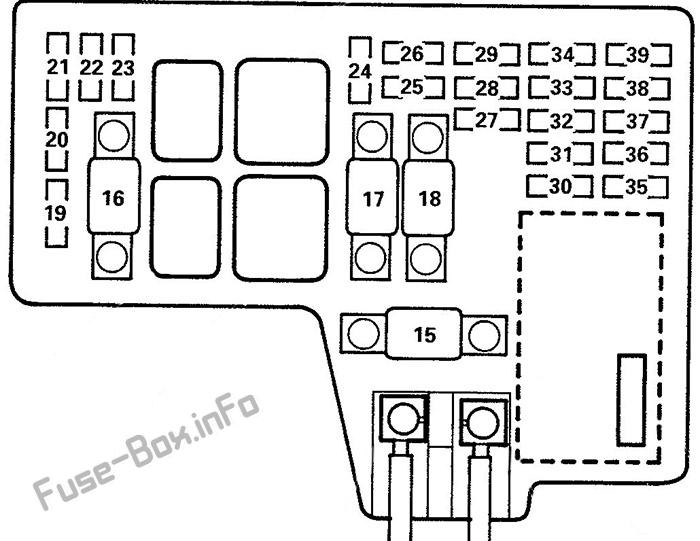 Under-hood fuse box diagram: Isuzu Oasis (1996, 1997, 1998, 1999)