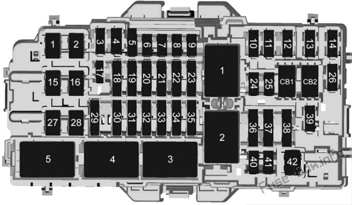 Diagramm Sicherungskasten Instrumententafel: Cadillac CT4 (2020, 2021)