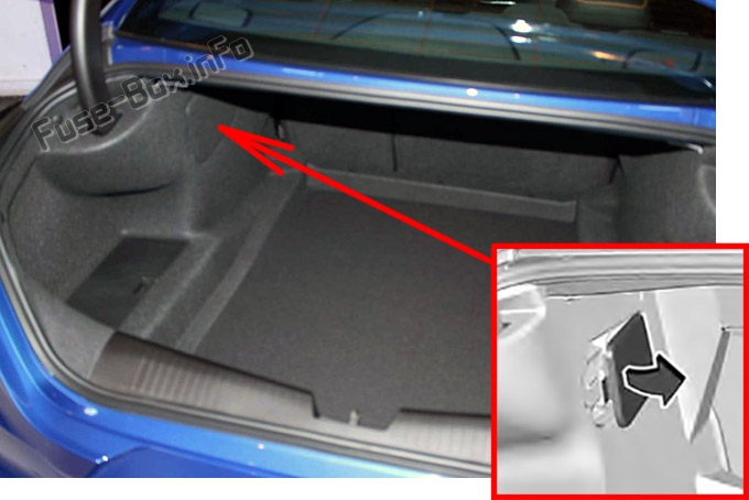 The location of the fuses in the trunk: Cadillac CT4 (2020, 2021)