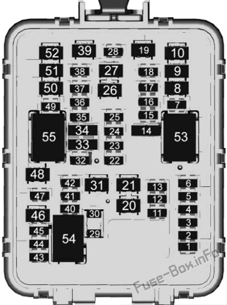 Schaltplan für den Kofferraum-Sicherungskasten: Cadillac CT4 (2020, 2021)