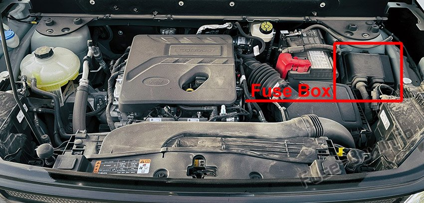 The location of the fuses in the engine compartment: Ford Bronco Sport (2021)