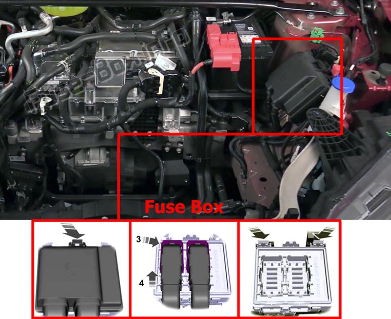 La loko de la fuzeoj en la sub-kapota kupeo: Ford Mustang Mach-E (2021)