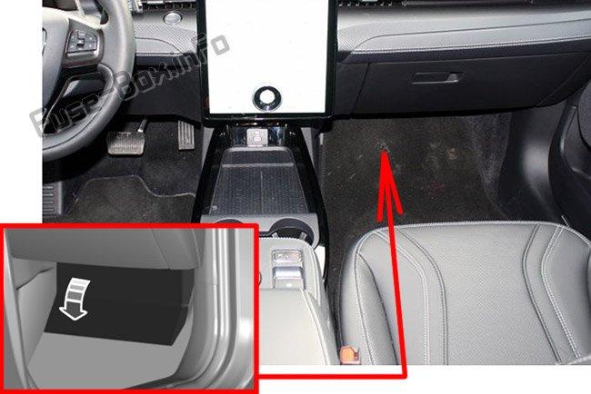 La loko de la fuzeoj en la pasaĝera kupeo: Ford Mustang Mach-E (2021)